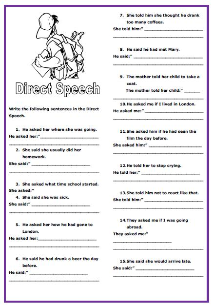 direct speech intermediate worksheet. Black Bedroom Furniture Sets. Home Design Ideas