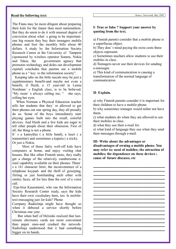 Worksheets For Teens : Teens and mobile phones reading