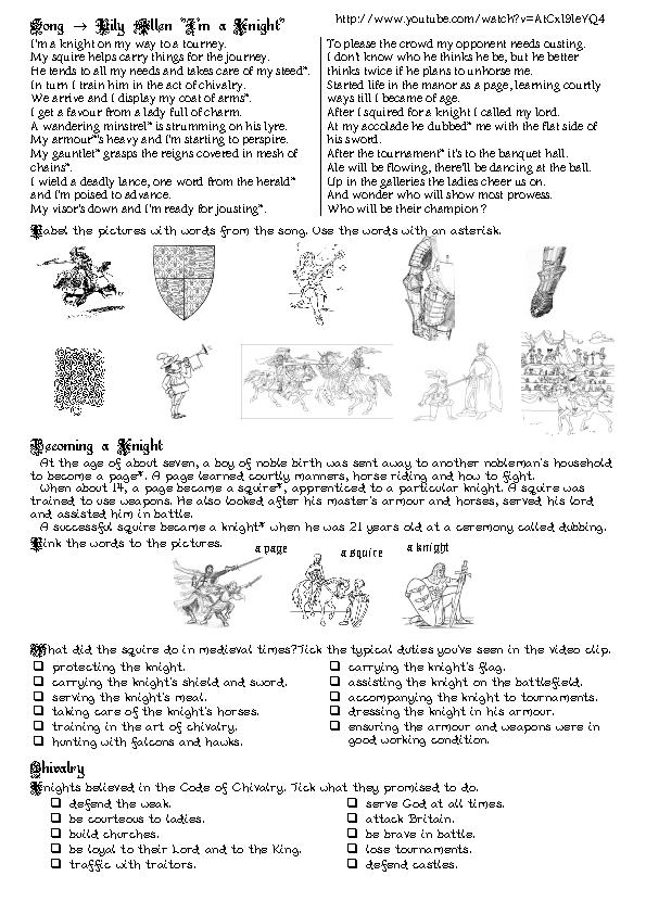 Medieval Knights PowerPoint Worksheet Only by Jubilee Homeschool Co-Op