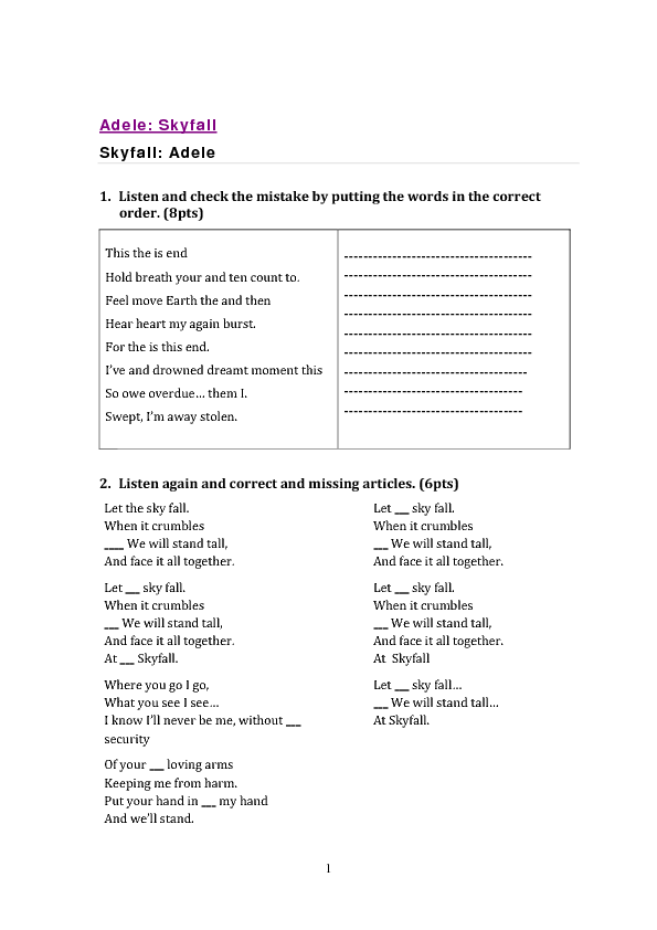Songs Worksheet: Skyfall by Adele