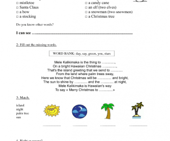 Movie Worksheet: Mele Kalikimaka