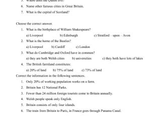 Movie Worksheet: Window on Britain - Introduction