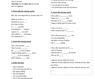 Song Worksheet: Happy Ending by Mika