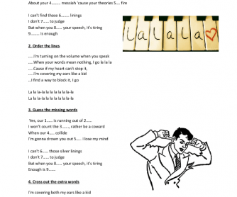 Song Worksheet: La La La by Naughty Boy