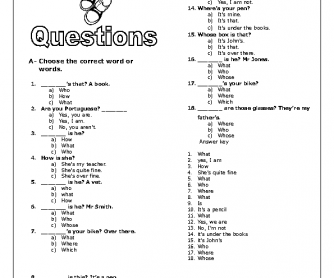 Revising Questions Elementary Worksheet