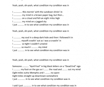 Song Worksheet: To See What Condition My Condition Was In (Past Simple)