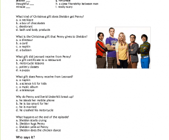 Movie Worksheet: Penny´s Christmas Gift to Sheldon (Big Bang Theory)