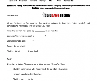 Movie Worksheet:The Skank Reflex Analysis (The Big Bang Theory)