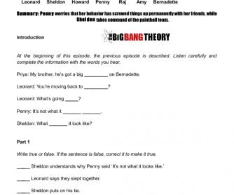 Movie Worksheet:The Skank Reflex Analysis (The Big Bang Theory)