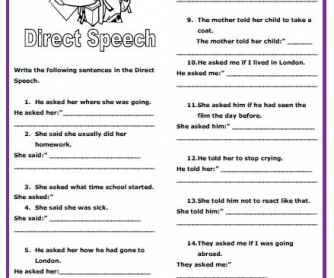 Direct Speech Intermediate Worksheet