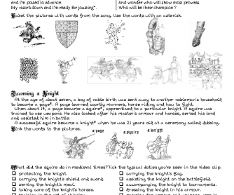 Song Worksheet: I'm a Knight by Lily Allen