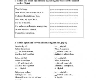 Songs Worksheet: Skyfall by Adele