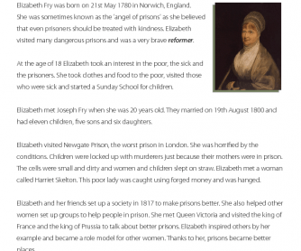 Famous People - Reading Comprehension: Elizabeth Fry