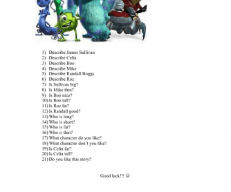 Movie Worksheet: Monsters Inc