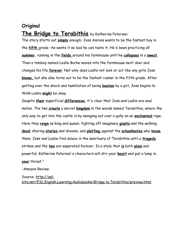 5 paragraph essay on bridge to terabithia Free essays analysis of bridge to terabithia essay analysis of bridge to terabithia essay 1105 words 5 pages friendship can be shown through the words of anyone.