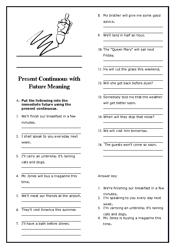 Continuous with Future Meaning Worksheet – Present Continuous Worksheets