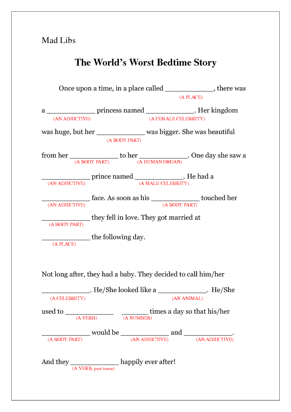 Lib The Worlds Worst Bedtime Story – Mad Libs Worksheets