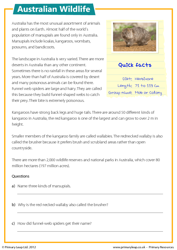 Reading Comprehension - Australian Wildlife