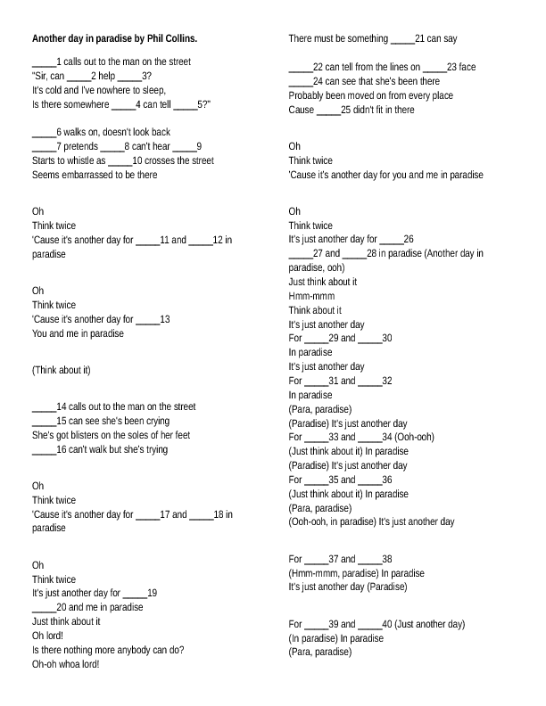 Worksheet: Another Day in Paradise (Personal and Object Pronouns)