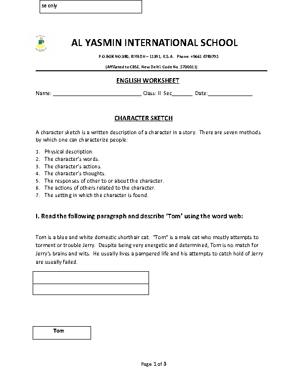 Sketch Descriptive Nouns Worksheet – Character Sketch Worksheet