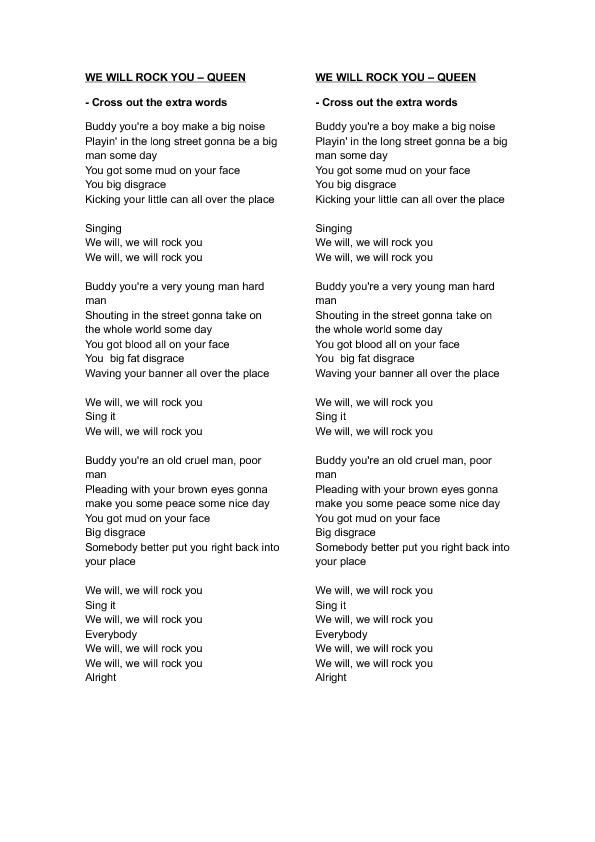 Lyric queen songs lyrics : Worksheet: We Will Rock You by Queen