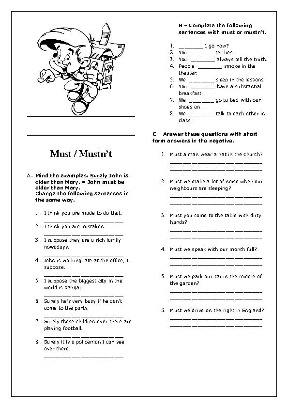 Modal Verbs: Must / Mustn\'t Elementary Worksheet