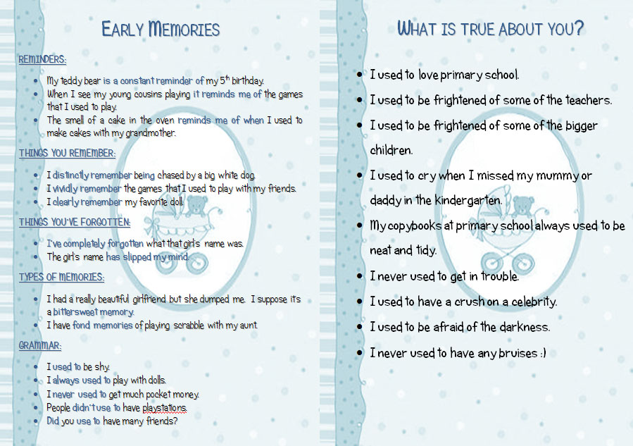 Early Memories Phrases And Discussion Statements