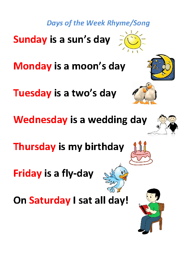 song worksheet days of the week rhyme song