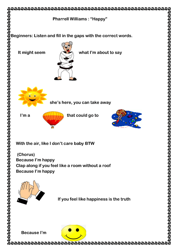 Song Worksheet: If You're Happy by William Pharrell
