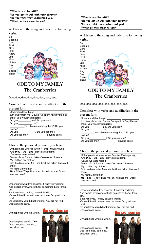 Worksheet: Ode to My Family