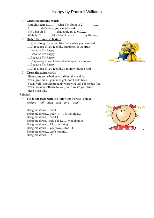 song worksheet  happy by pharrell williams