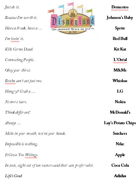 Printables Advertising Slogans Worksheet famous advertising slogans