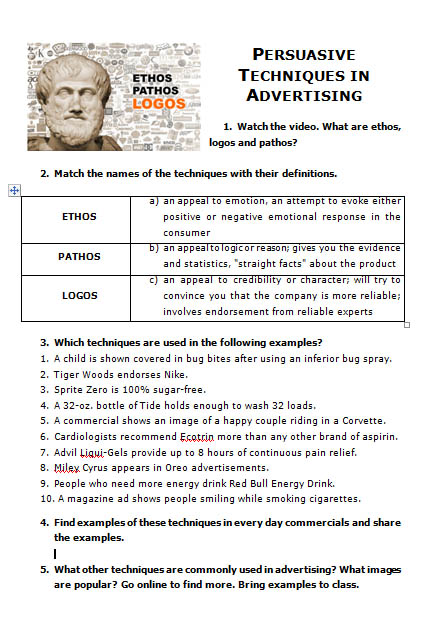 Printables Logos Ethos Pathos Worksheet movie worksheet persuasive techniques in advertising