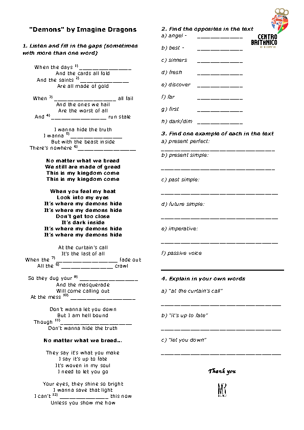 Song Worksheet Demons By Imagine Dragons