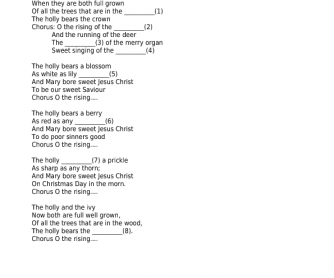 Song Worksheet: The Holy and The Ivy