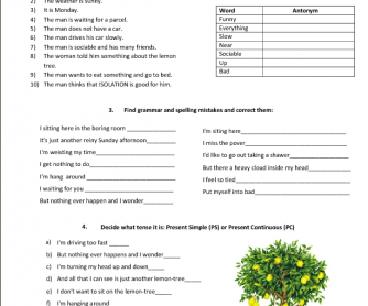Song Worksheet: Lemon Tree by Fool's Garden
