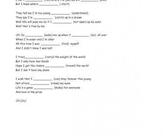 Song Worksheet: Wake Me Up by Avicii (Verb Patterns)