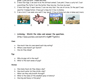 Movie Worksheet: Fun Farm Animal Facts