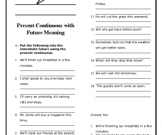 Present Continuous with Future Meaning Worksheet