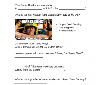 Movie Worksheet: Super Bowl Snack Facts