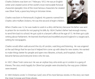 Famous People - Reading Comprehension: Charles Dickens