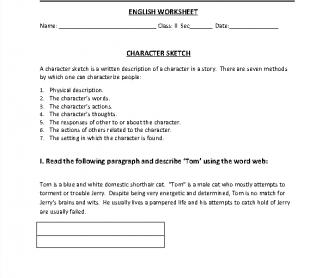 Character Sketch, Descriptive Nouns Worksheet