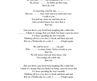 Song Worksheet: Begin Again (Simple Past)