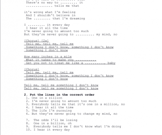 Song Worksheet: Tell Me Something I Don't Know by Selena Gomez