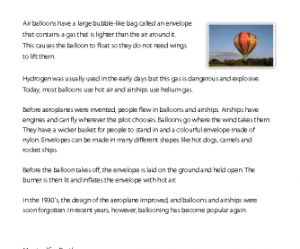 Reading Comprehension - Air Balloon