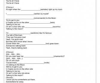 Song Worksheet: Talking to the Moon by Bruno Mars