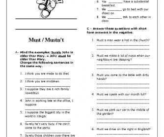 Modal Verbs: Must / Mustn't Elementary Worksheet