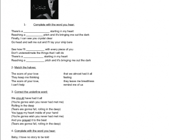 Song Worksheet: Rolling in the Deep by Adele