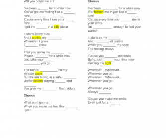 Song Worksheet: Bubbly by Colbie Caillat