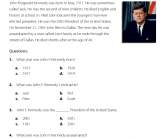 Reading Comprehension - John F. Kennedy